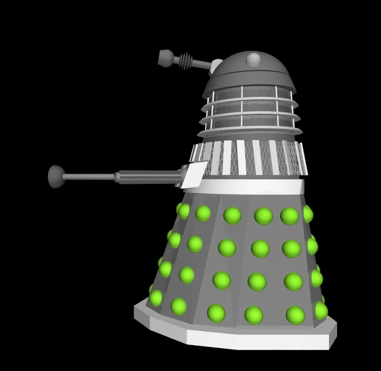 Pov-Ray Dalek model sideview