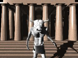 Moonbull outside temple
