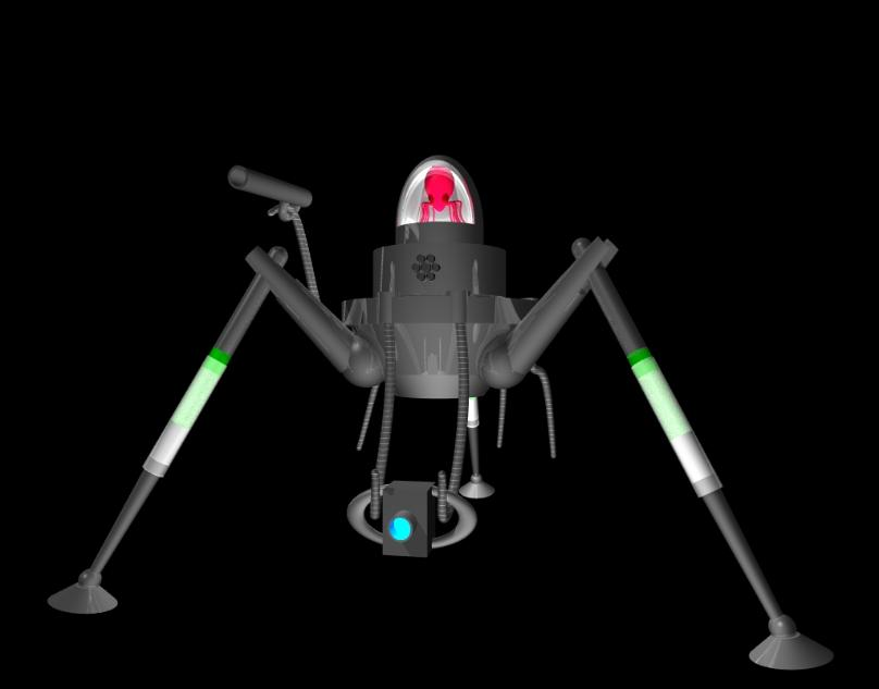 Martian fighting machine in crouched position rendered in Pov-Ray